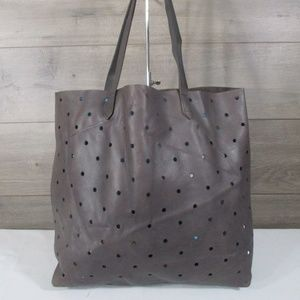 Madewell Holepunch Transport Gray Leather Tote